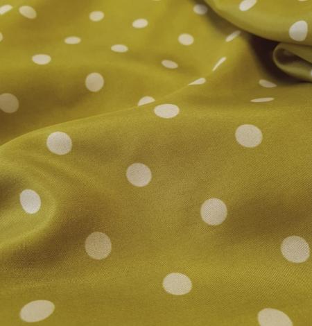 Olīvzaļā krāsā ar baltām pumpiņām zīda oderes audums . Photo 2