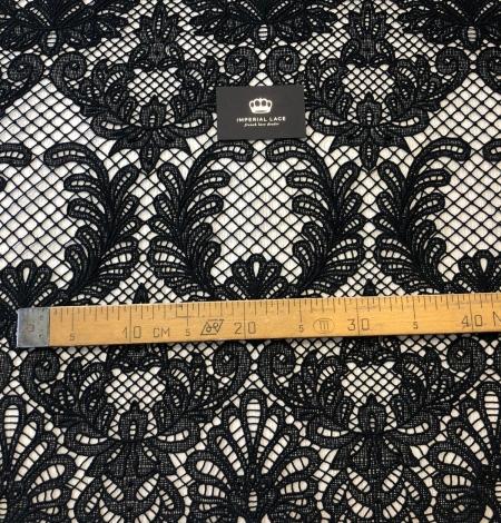Black macrame thick guipure lace fabric. Photo 9
