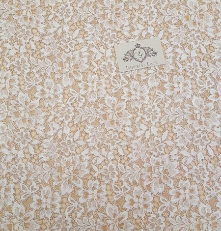 Ivory with Brown Lace Fabric. Photo 3