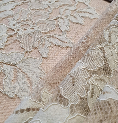 Mint on beige tulle guipure lace fabric. Photo 6