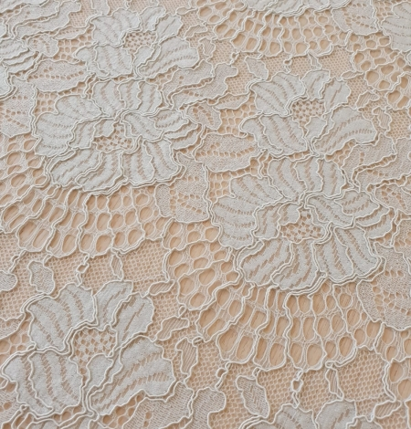 Light grey with bluish green guipure lace fabric. Photo 3