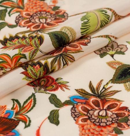 Daudzkrāsu ziedu printēts zīda krepa audums. Photo 5