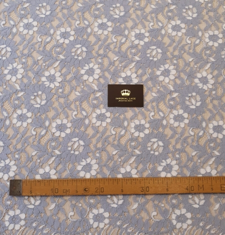 Greyish blue with white floral pattern guipure lace fabric. Photo 5