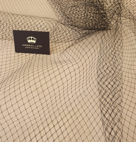Melnas cepures tīkla tilla audums. Photo 4