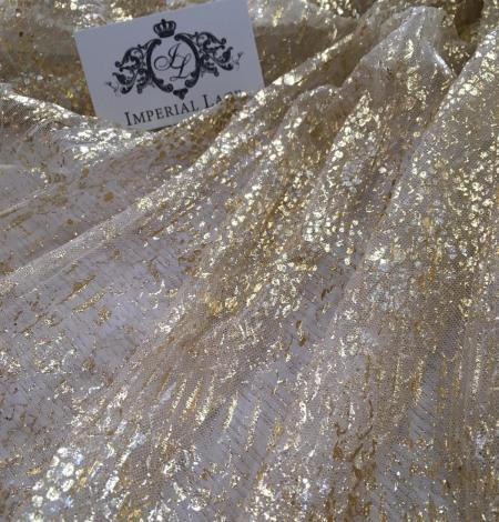 Miesas krāsas tilla audums ar zelta pārklājumu. Photo 3