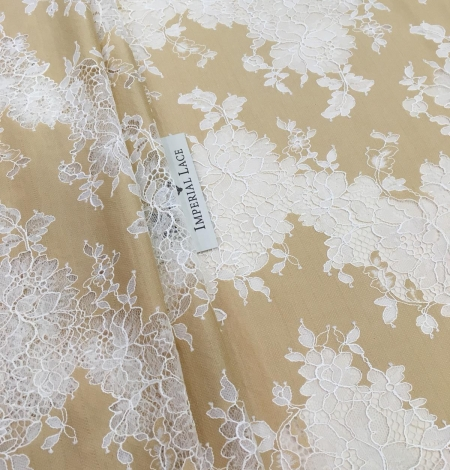 Dark beige lace fabric. Photo 7