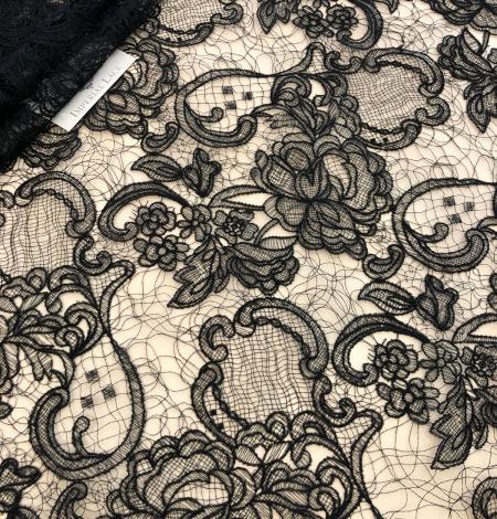Black macrame lace fabric. Photo 4