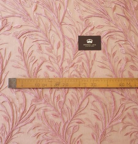 Aveņu rozā lapu rakstu izšuvumi ar fliteriem uz mīksta tilla auduma. Photo 9