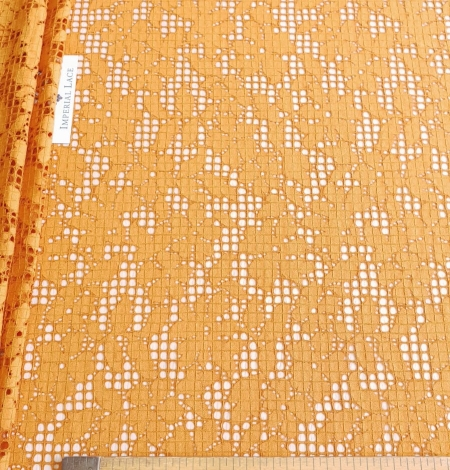 Rust tone color chantilly lace fabric. Photo 7