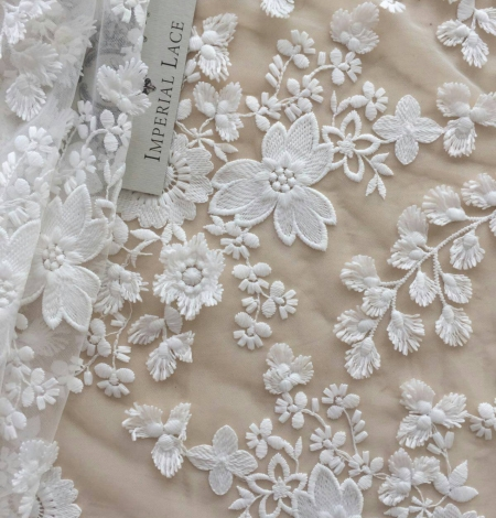 Off White embroidery lace fabric. Photo 1