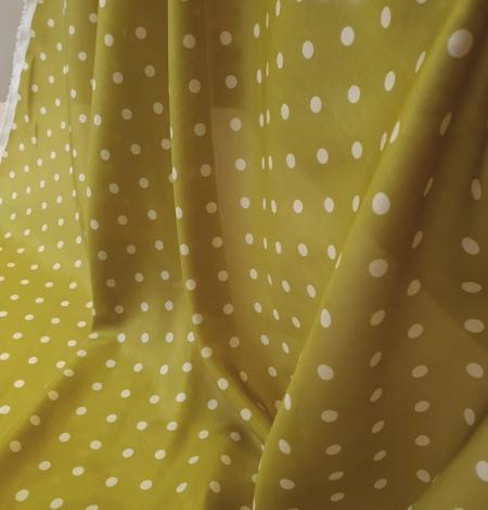 Olīvzaļā krāsā ar baltām pumpiņām zīda oderes audums . Photo 3