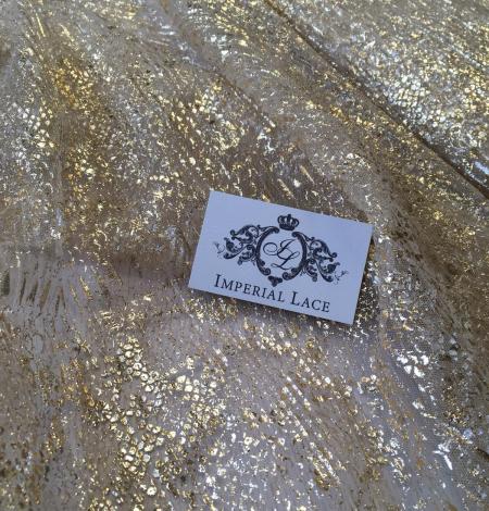 Miesas krāsas tilla audums ar zelta pārklājumu. Photo 6