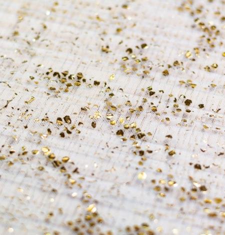 Gaiši zils ar zelta foliju gofrēts tilla audums. Photo 4