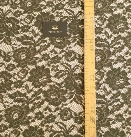 Dark haki green guipue lace fabric. Photo 8