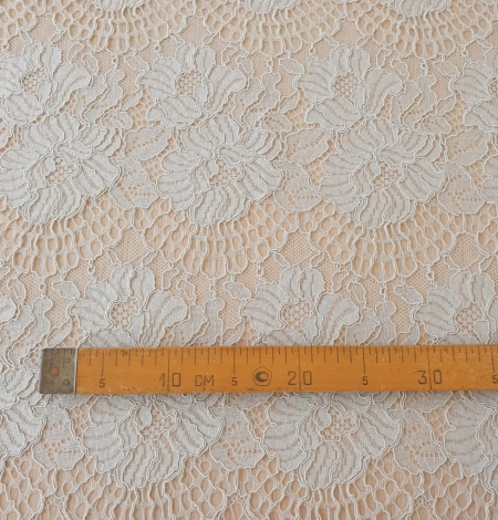 Light grey with bluish green guipure lace fabric. Photo 8