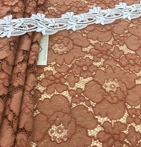 Brown lace fabric. Photo 6