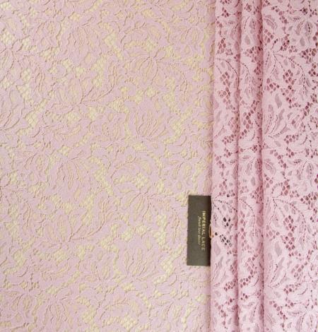 Gaiši rozā ziedu raksta guipure mežģīņu audums. Photo 1
