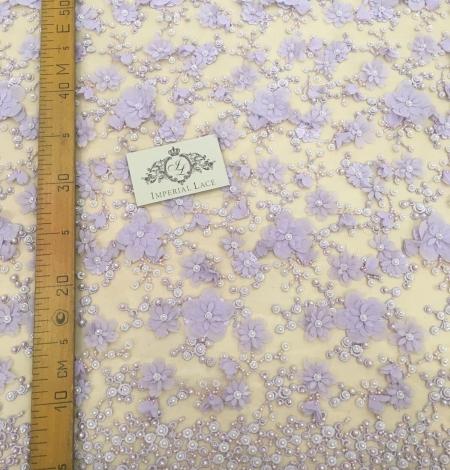 Violets pērļots 3D ziedu raksta mežģīņu audums. Photo 5