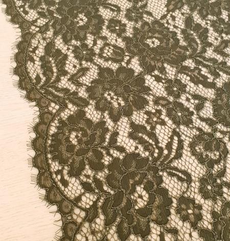 Dark haki green guipue lace fabric. Photo 6