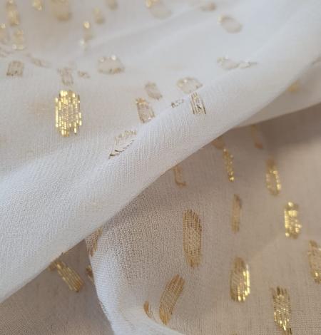 Ziloņkaula ar zelta deteļām zīda crepe šifona audums. Photo 10