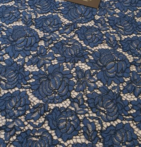 Dark blue cord thread lace fabric. Photo 2