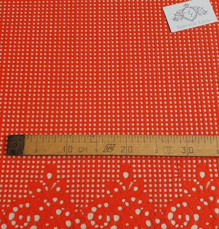 Orange red guipure lace fabric. Photo 5