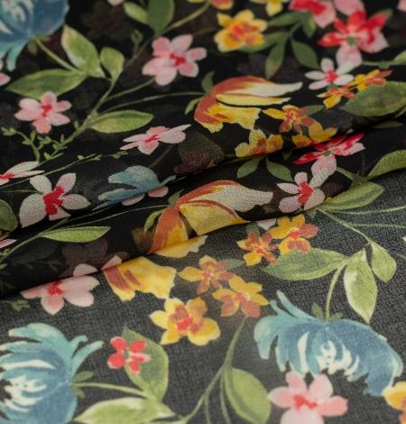 Melns ar daudzkrāsu ziedu rakstu poliestera šifona audums . Photo 7