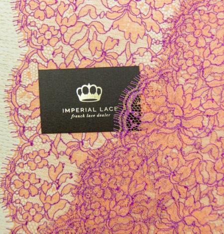 Oranžs ar lillā ziedu raksta chantilly mežģīņu mala. Photo 4
