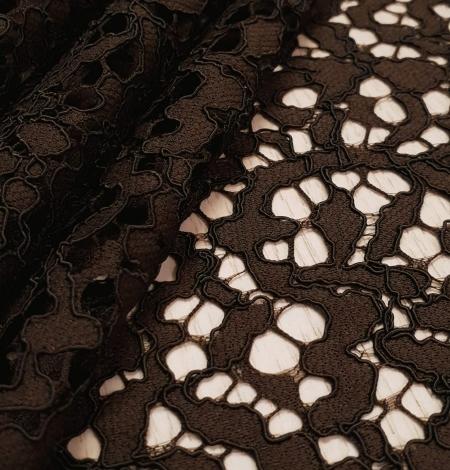 Dark brown guipure lace fabric. Photo 3
