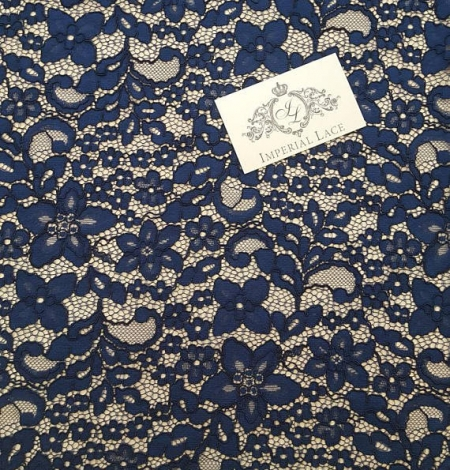 Navy Blue Lace Fabric. Photo 3