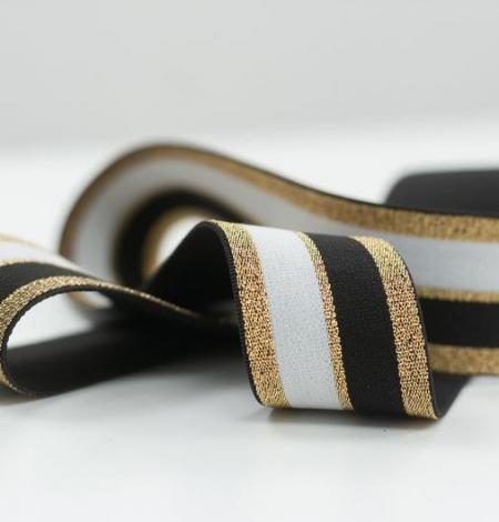 Melna ar zeltu un baltu elastīgā lenta. Photo 4