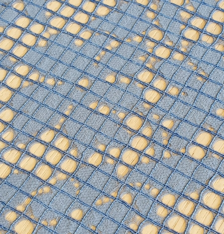 Blue floral guipure lace fabric. Photo 5