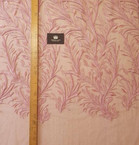 Aveņu rozā lapu rakstu izšuvumi ar fliteriem uz mīksta tilla auduma. Photo 8