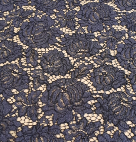 Bluish grey cotton polyester chantilly lace fabric . Photo 5