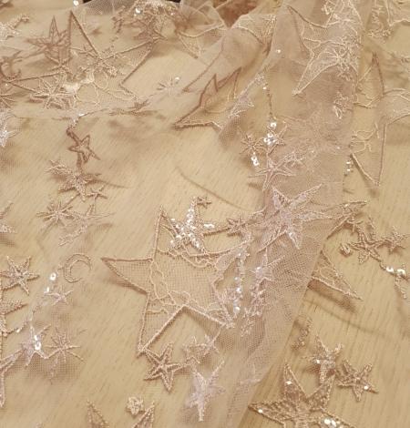 Veci rozā zvaigžņu raksts ar chantilly deteļām un fliteriem izšuvums uz tilla auduma. Photo 6