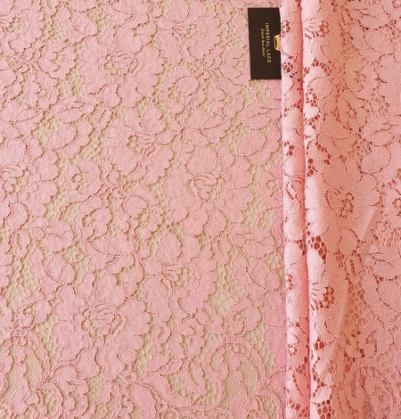 Pink floral guipure lace fabric. Photo 7