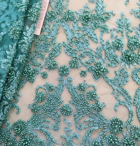 Zaļa 3D ziedu raksta mežģīņu audums. Photo 1