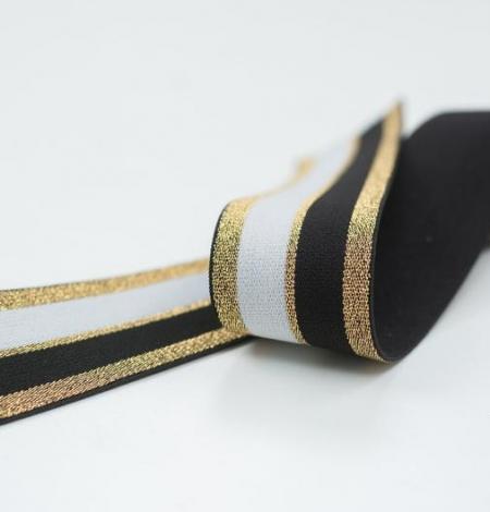Melna ar zeltu un baltu elastīgā lenta. Photo 3