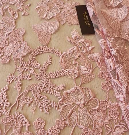 Veci rozā puķains raksts uz tilla auduma. Photo 2