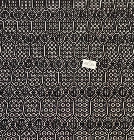 Melna ģeometriska guipure mežģīņu audums. Photo 3