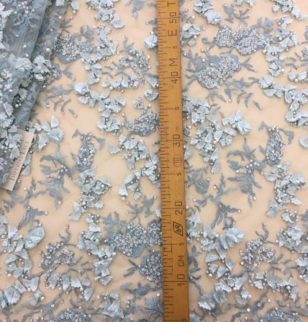 Gaiši zils 3D puķains mežģīņu audums. Photo 4
