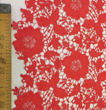 Coral orange macrame lace fabric. Photo 4