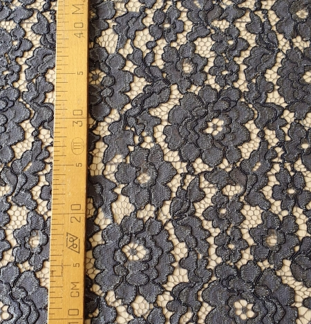 Grey floral pattern cord thread guipure lace fabric. Photo 10