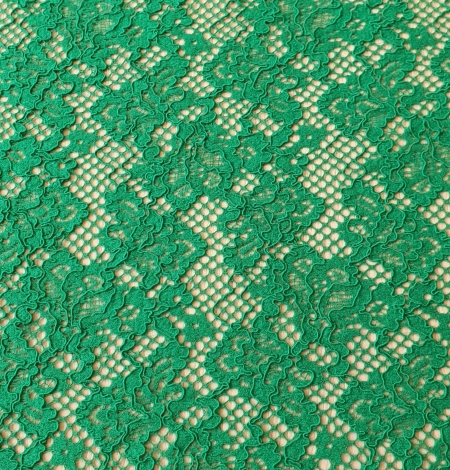 Green guipure lace fabric. Photo 6