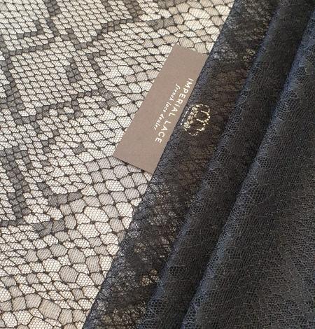 Black chantilly viscose snake pattern lace fabric . Photo 1