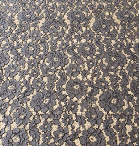 Grey floral pattern cord thread guipure lace fabric. Photo 9