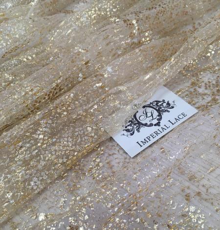 Miesas krāsas tilla audums ar zelta pārklājumu. Photo 4