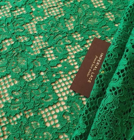 Green guipure lace fabric. Photo 1