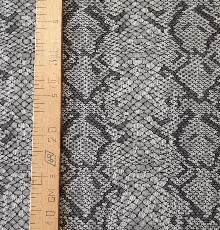 Black chantilly viscose snake pattern lace fabric . Photo 10