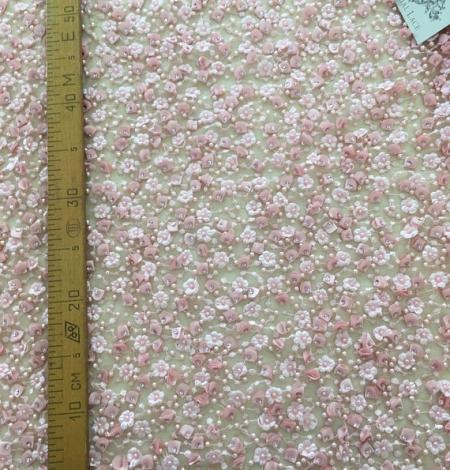 Rozā 3D pērļots mežģīņu audums. Photo 7